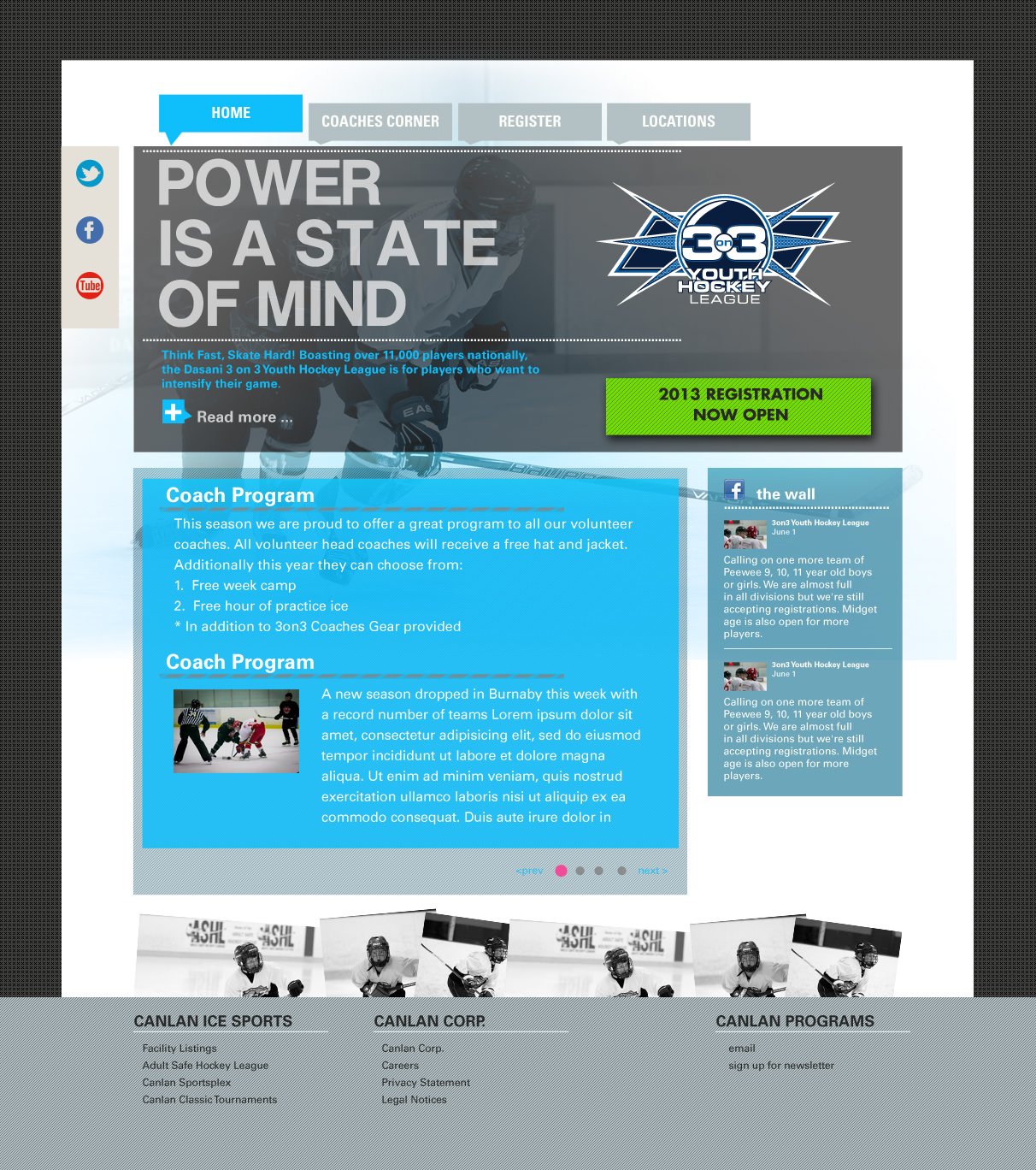 3on3 Youth Hockey homepage redesign