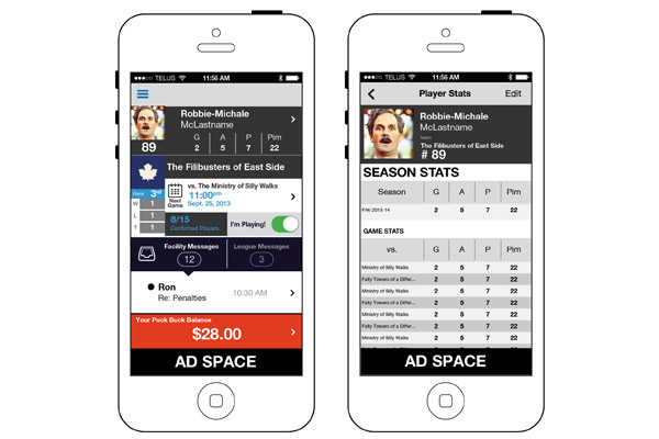 ASHL App Home and Season Results Screen