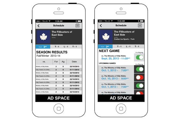 ASHL App Season Stats and Attendance Screens