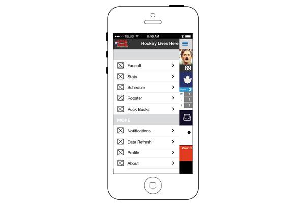 ASHL App Menu Screen